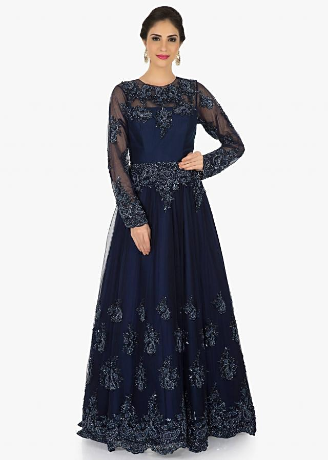 Navy Blue net gown crafted in beautiful moti and cut dana embroidery work only on Kalki