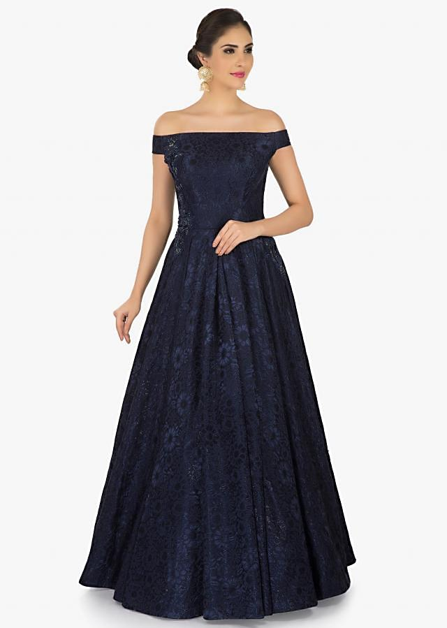 Navy Blue off-shoulder gown embellished in moti and cut dana work only on Kalki