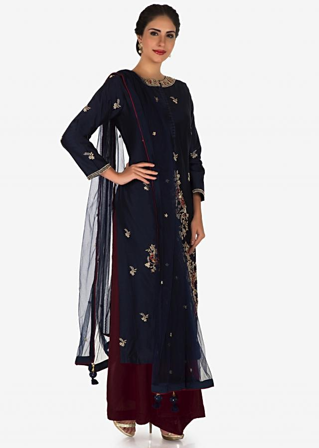 Navy blue palazzo suit in silk embellished in heavy zardosi embroidery work only on Kalki