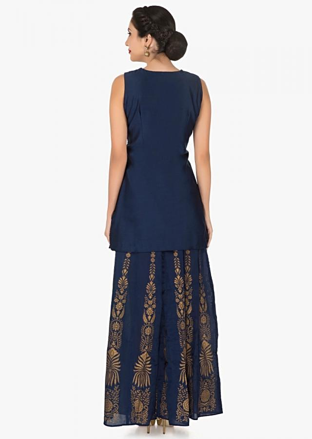 Navy blue palazzo suit in silk embroidered with zari and patchwork embroidery only on Kalki