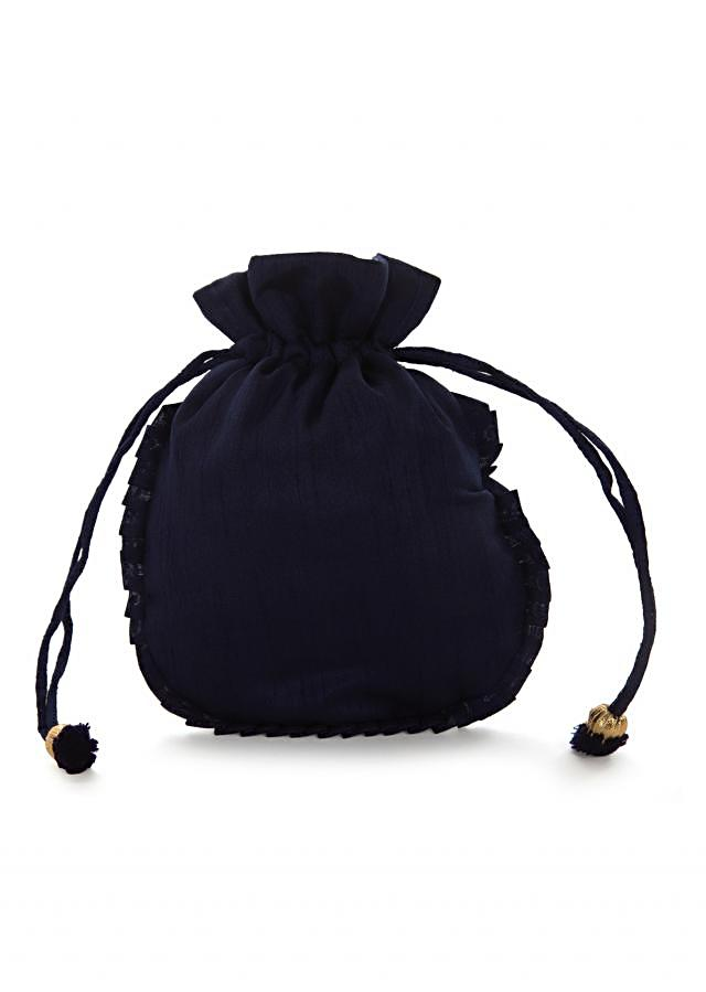 Navy blue potli bag beautified in gotta patti embroidered work only on Kalki