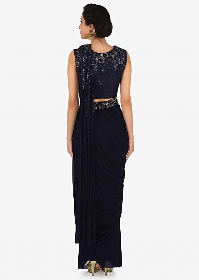 Navy blue pre stitched saree in lycra net with cut dana embroidered border only on Kalki