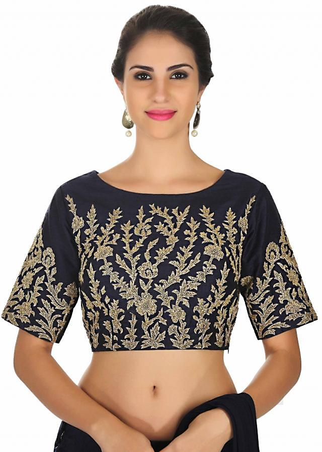 Navy blue raw silk blouse embroidered in zari work only on Kalki
