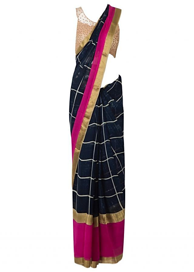 navy blue saree in georgette with checks print only on Kalki