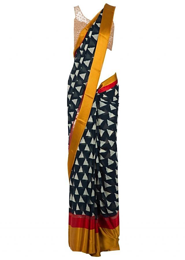 Navy blue saree in georgette with geometric print only on Kalki