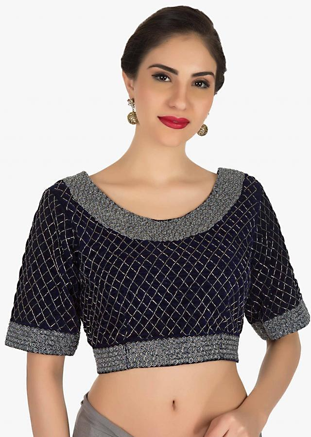 Navy Blue saree in georgette with ready stitched blouse adorn in cut dana embroidery work only on Kalki