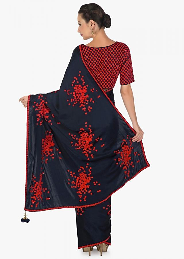 Navy blue saree in satin with ready blouse in red thread work only on Kalki