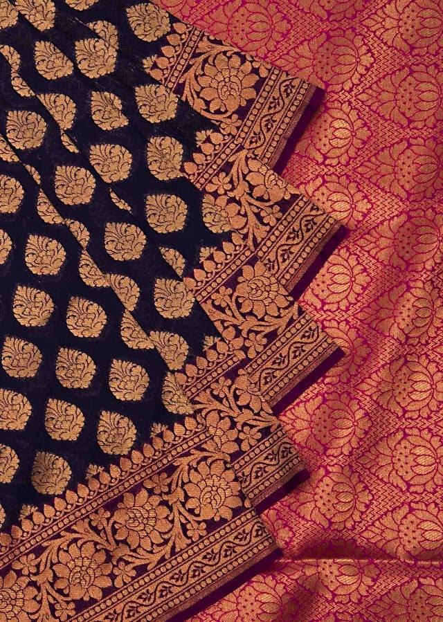 Navy blue saree in silk with contrast pink border only on Kalki