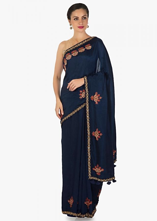 Navy blue saree in silk with resham and zardosi embroidered butti and border only on Kalki