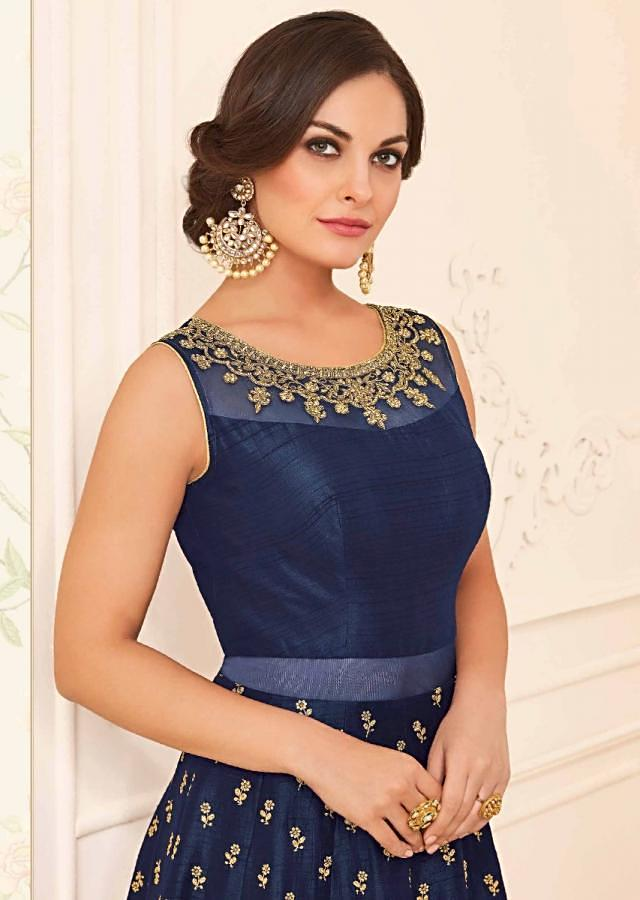 Navy blue silk anarkali suit with adorn in kundan and zari embroidery