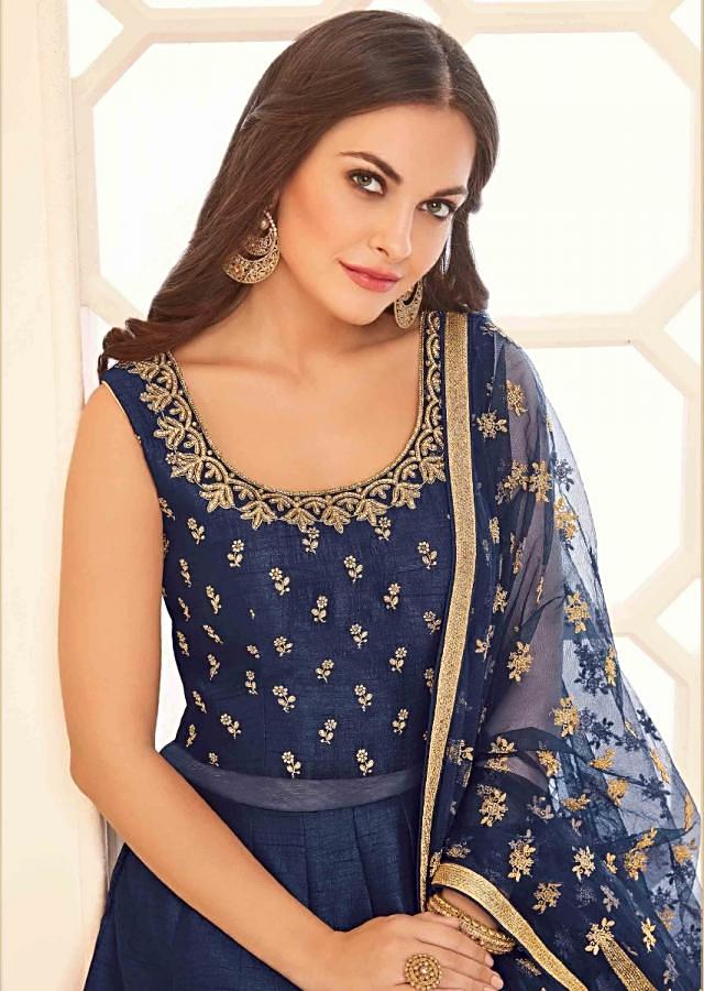 Navy blue silk anarkali suit with bodice adorn in kundan and zari work