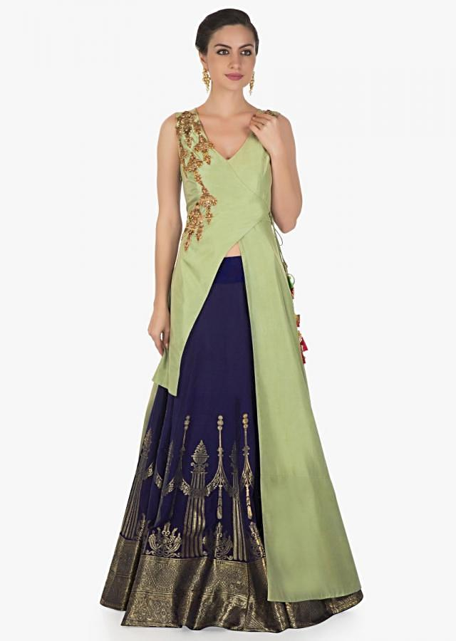 Navy blue skirt matched with angarkha blouse adorn in cut dana and zardosi only on Kalki