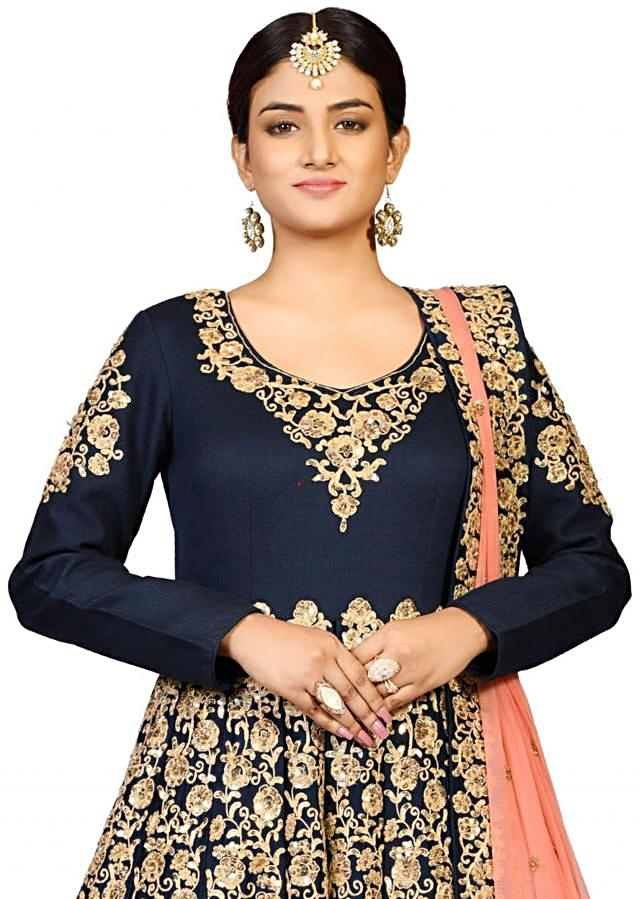 Navy blue slit suit in chanderi showcasing the artful dori embroidery only on Kalki