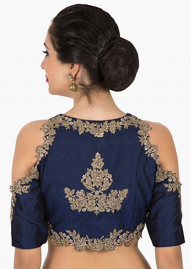 Navy Blue stitched blouse flaunting the zardosi and sequin work only on Kalki
