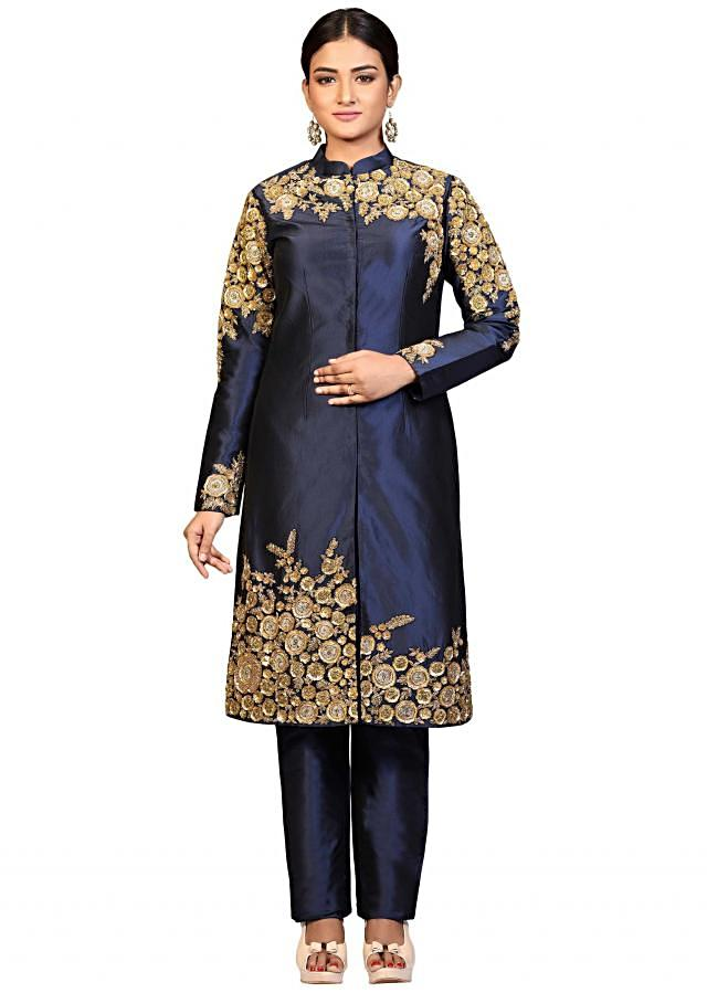 Navy blue straight suit in silk with aari embroidered yoke, sleeve and hem line