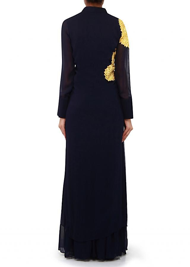 Navy blue suit adorn in yellow applique work only on Kalki