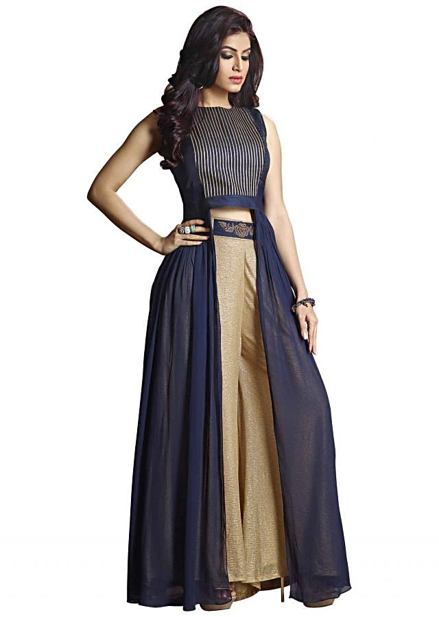 Navy blue suit enhanced in gotta lace with palazzo pant