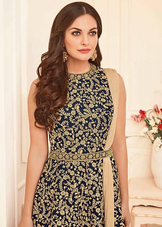 Navy blue suit in raw silk embellished with floral jaal and shimmer dupatta