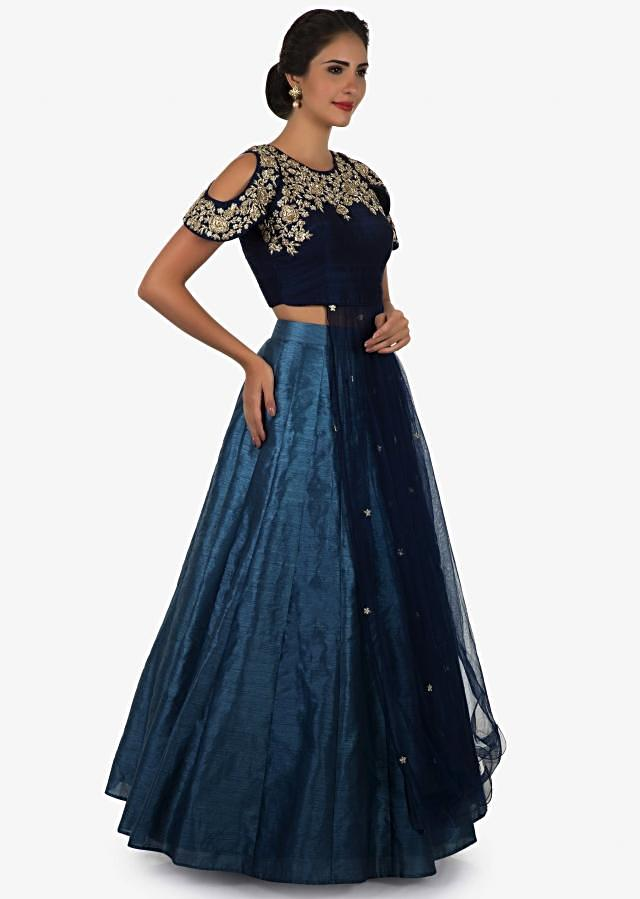 Navy blue top and skirt embedded in beautiful zardosi embroidery work only on Kalki
