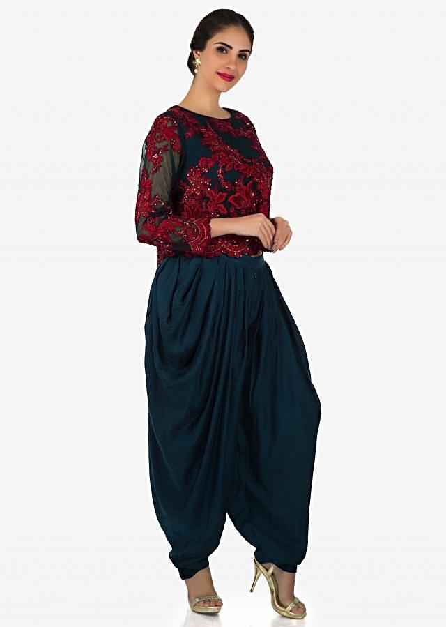 Navy blue top in french knot embroidery with fancy cowl drape pants only on Kalki