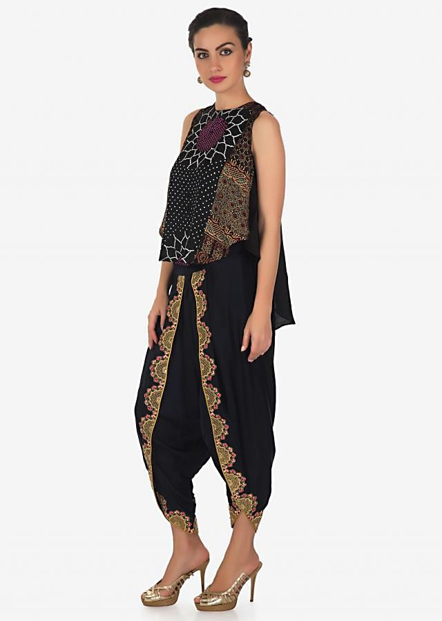 Navy blue top with front short and back long in bandhani print only on Kalki