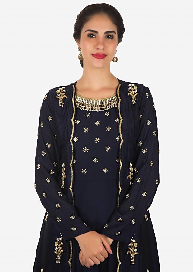 Navy blue tunic matched with embroidered full sleeve jacket only on Kalki