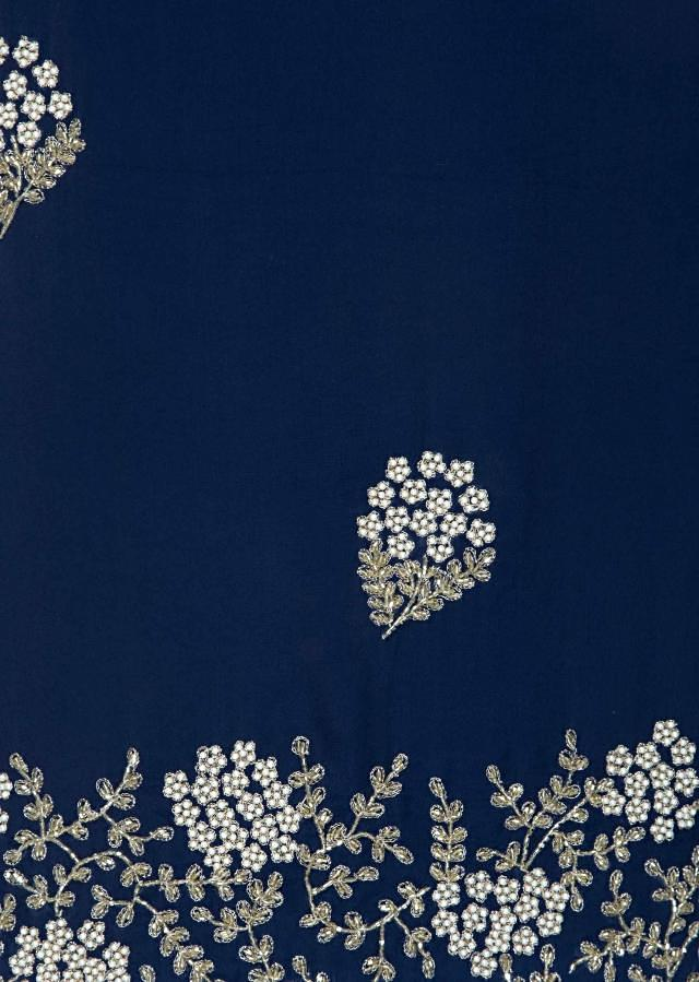 Navy blue unstitched suit in georgette with cut dana only on Kalki