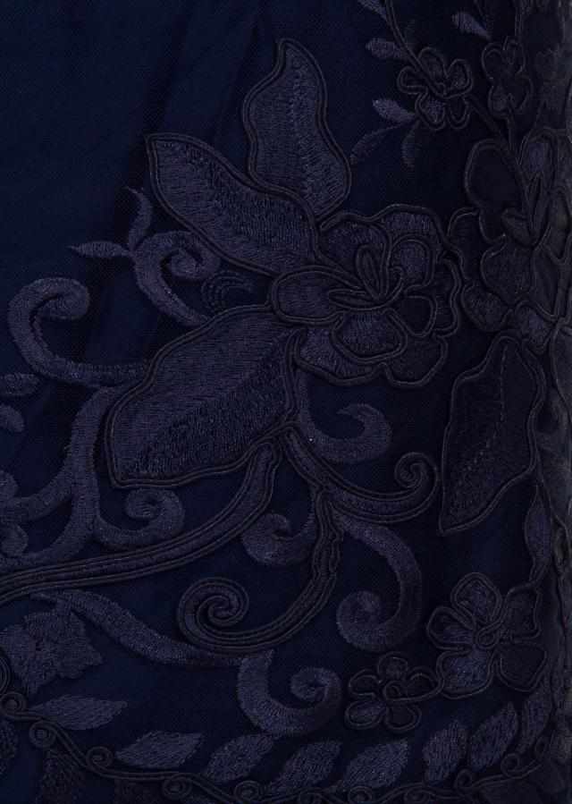 Navy blue unstitched suit in resham and cod embroidery only on Kalki