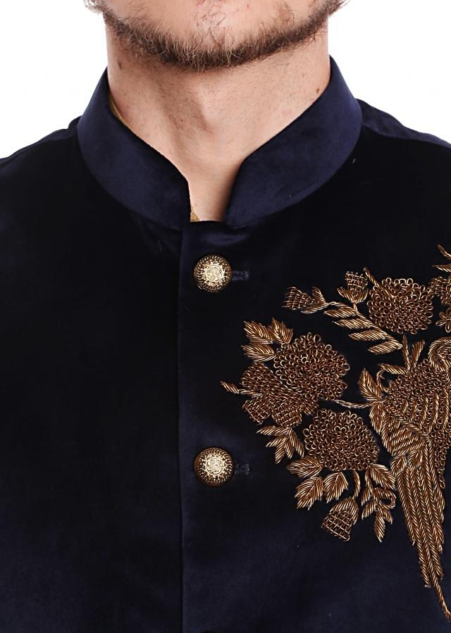 Navy Blue waist coat in velvet adorn in bird motif with embroidered butti only on Kalki