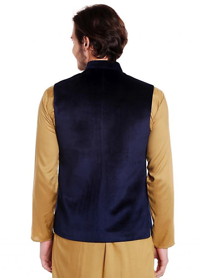 Navy Blue waist coat in velvet adorn in horse motif with embroidered butti only on Kalki