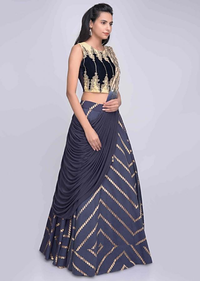 Nay blue brocade cotton silk lehenga with blue velvet blouse and blue and beige draped dupatta only on Kalki