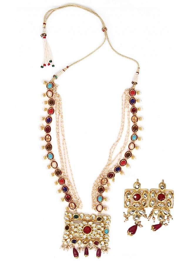 Necklace made with navratan kundan and brass with matching earrings