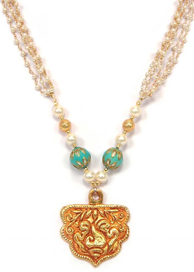 Necklace in moti with Gold Locket only on Kalki