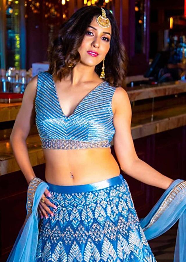 Neeti Mohan in Kalki Royal blue Net embroidered lehenga and blouse only on kalki
