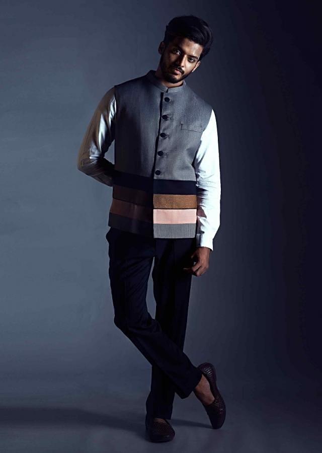 Nehru Coat With A Grey Base And Multi Colored Panel Detailing Online - Kalki Fashion