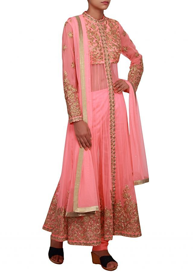 Neon pink anarkali featured in net with zari embroidery only on Kalki
