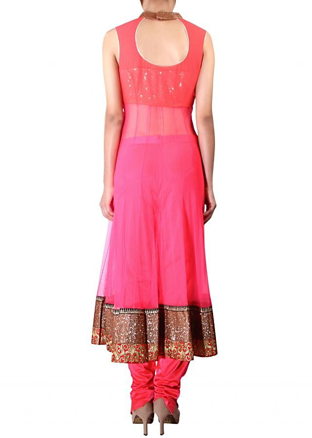 Neon pink anarkali suit adorn in sari and kundan embroidery only on Kalki