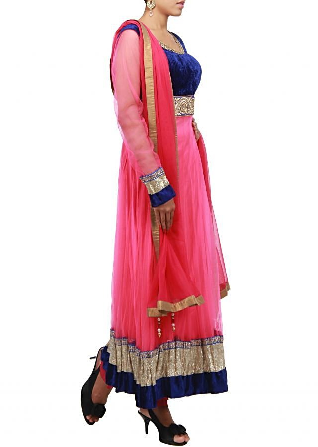 Neon pink anarkali suit embroidered in thread and zardosi only on Kalki