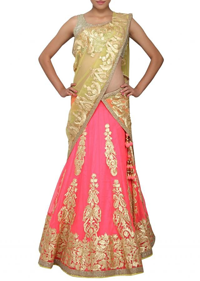 Neon pink lehenga embellished in gotta patti lace only on Kalki