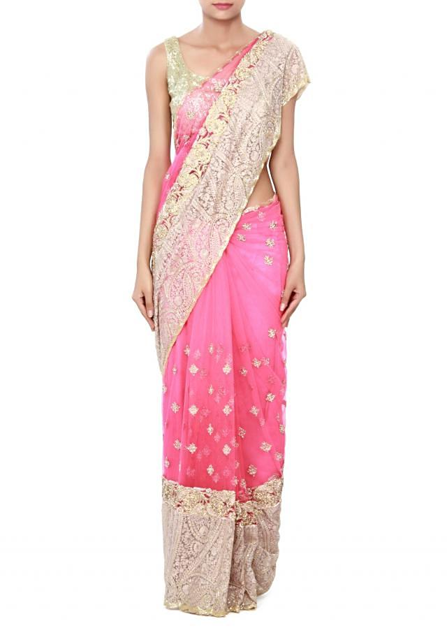 Neon pink saree adorn in resham and kundan embroidery only on Kalki
