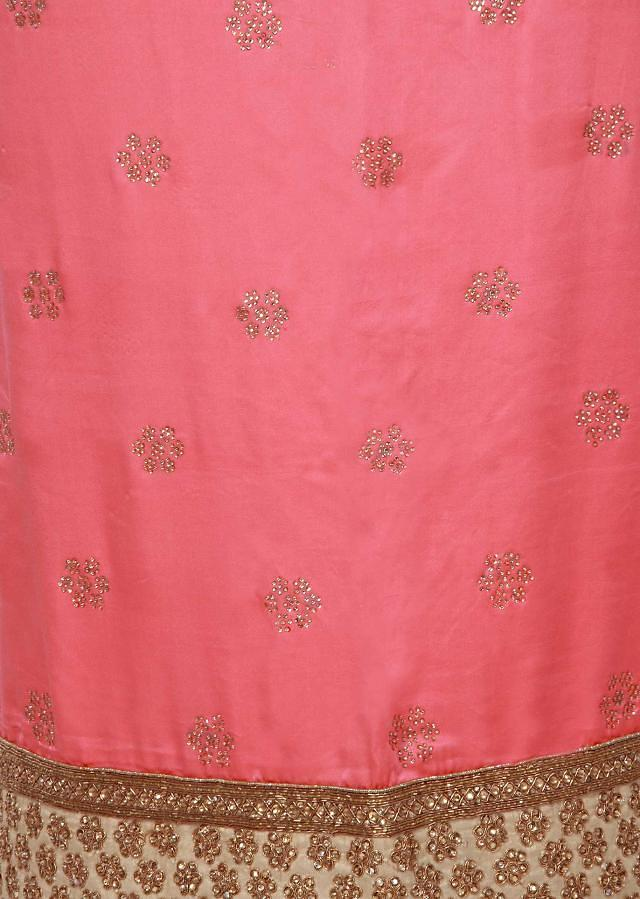 Neon pink unstitched suit enhanced in kundan embroidery only on Kalki