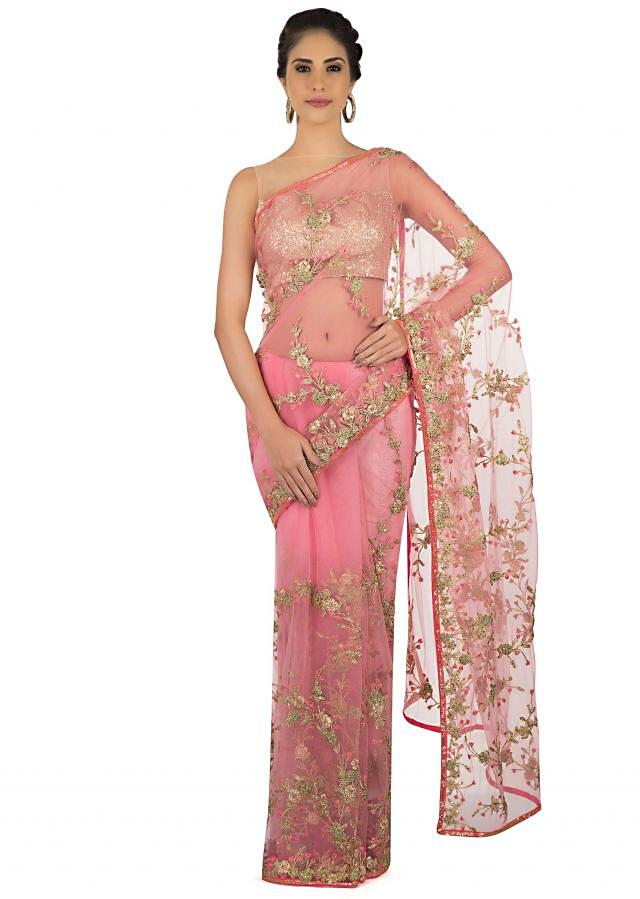 Net saree in baby pink with jaal motif embroidery only on Kalki