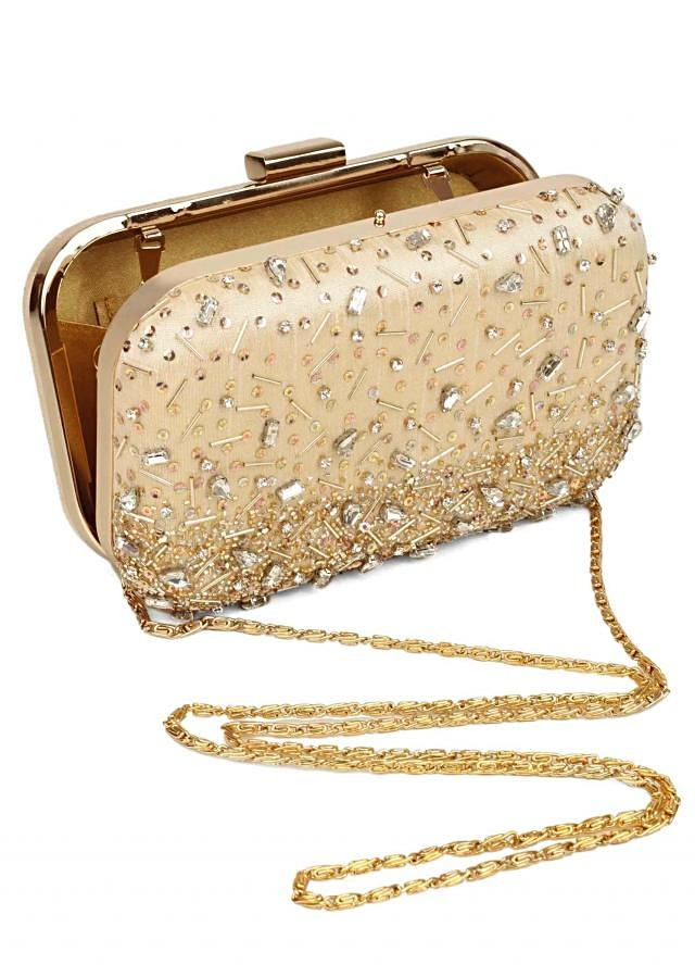 Neutral nude clutch with gold and silver embellishment