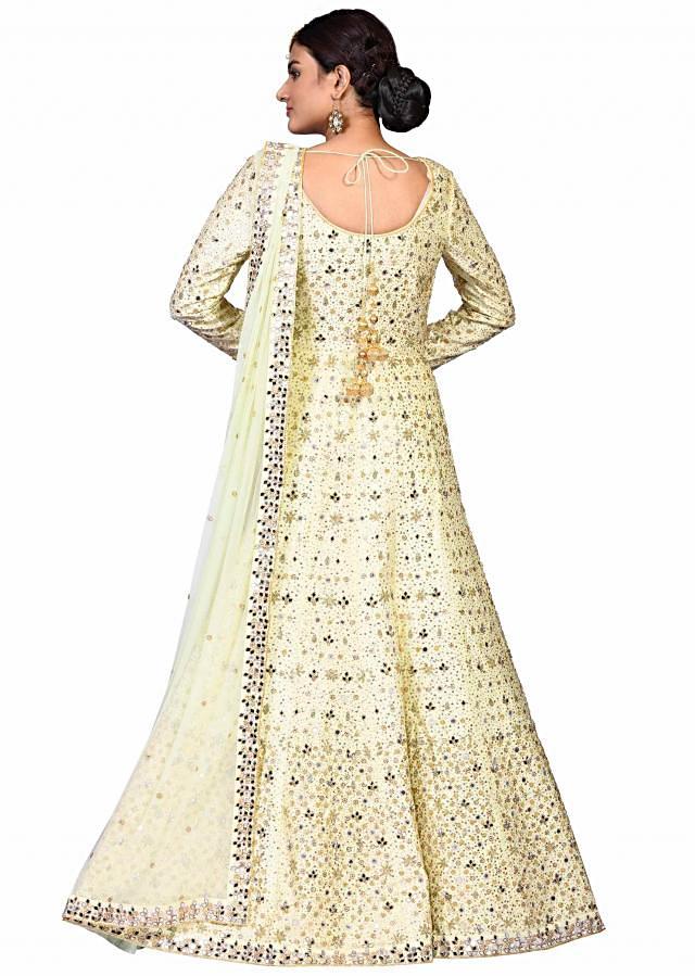 New pista mirror suit in chanderi embellished in heavy mirror work only on Kalki