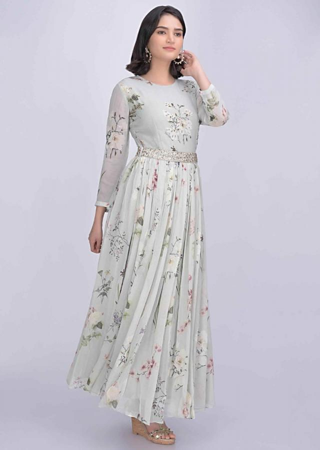 Nimbus grey chiffon dress with floral print only on Kalki