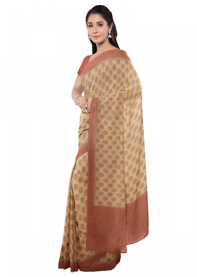 Oat Beige Saree In Chiffon With Floral Buttis Online - Kalki Fashion