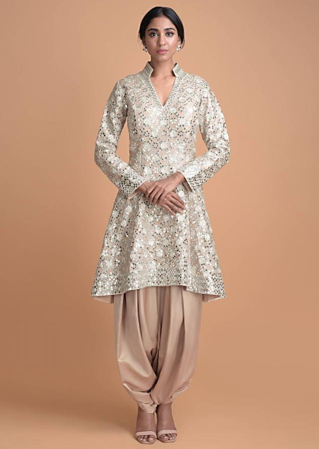 Oat Beige Flared Suit With Mirror Work And Matching Dhoti Pants  Online - Kalki Fashion