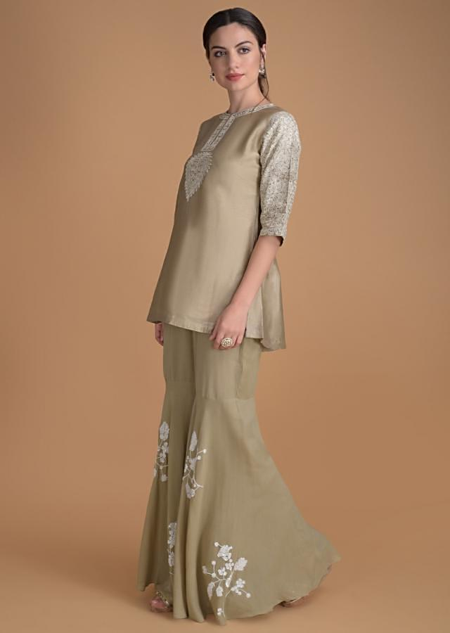 Oat Beige Sharara Suit With Thread Embroidery Work Online - Kalki Fashion