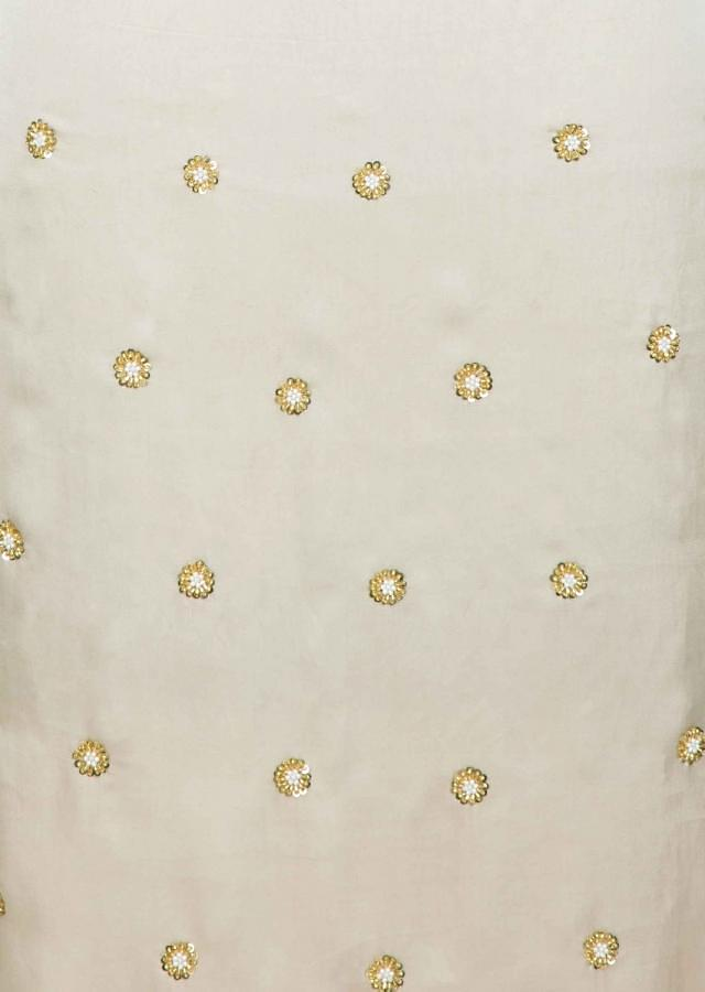 Oat Tan Unstitched Suit In Satin With Heavy Hand Embellished Net Dupatta Online - Kalki Fashion