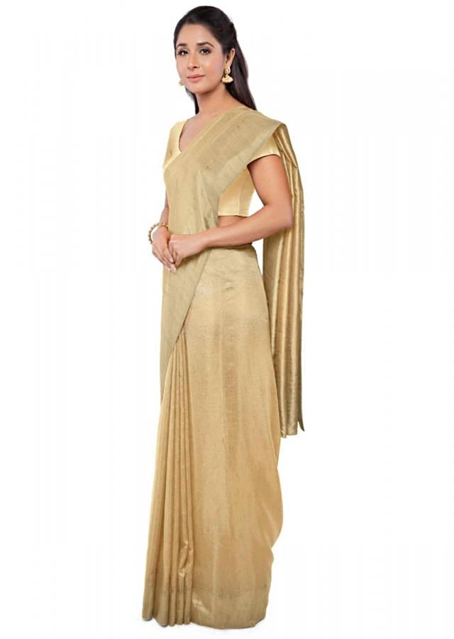 Ochre Saree In Chiffon With Floral Motifs All Over Online - Kalki Fashion